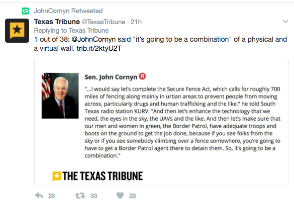 Cornyn's retweet of Texas Trib on border wall