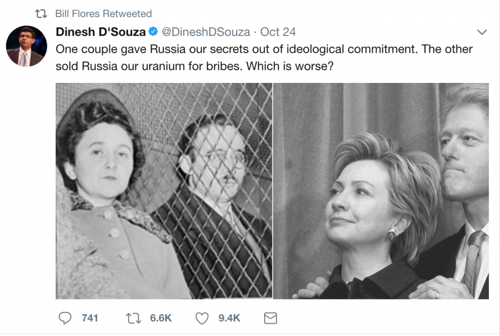 Bill Flores retweeted Dinesh D'Souza comparing Clintons to Rosenbergs