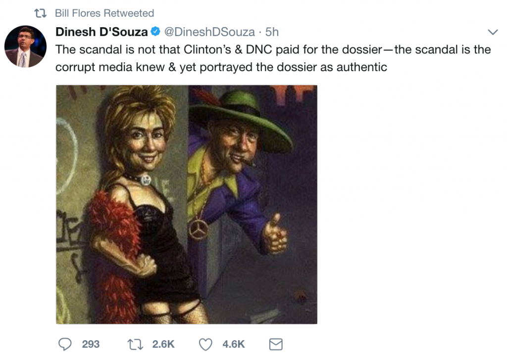 Bill Flores retweets D'Souza depicting Hillary Clinton as a hooker