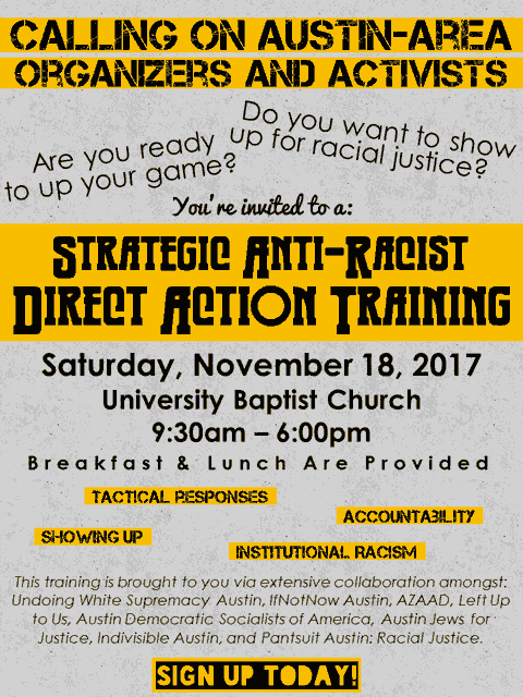 Promo for anti-racist direct-action training. All of the info is already included in the text of this page.