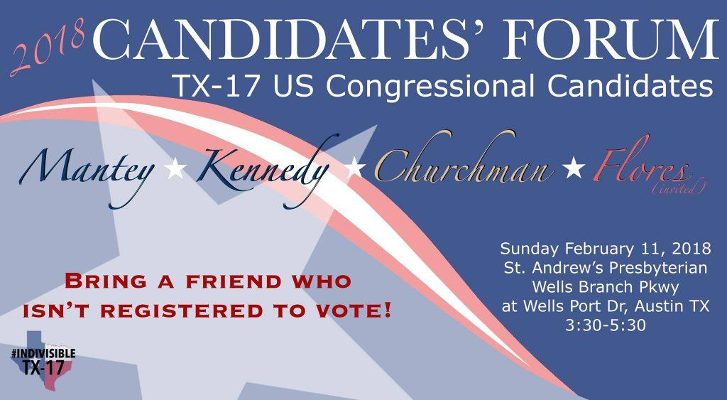 TX-17 candidate forum in Austin on Feb 11
