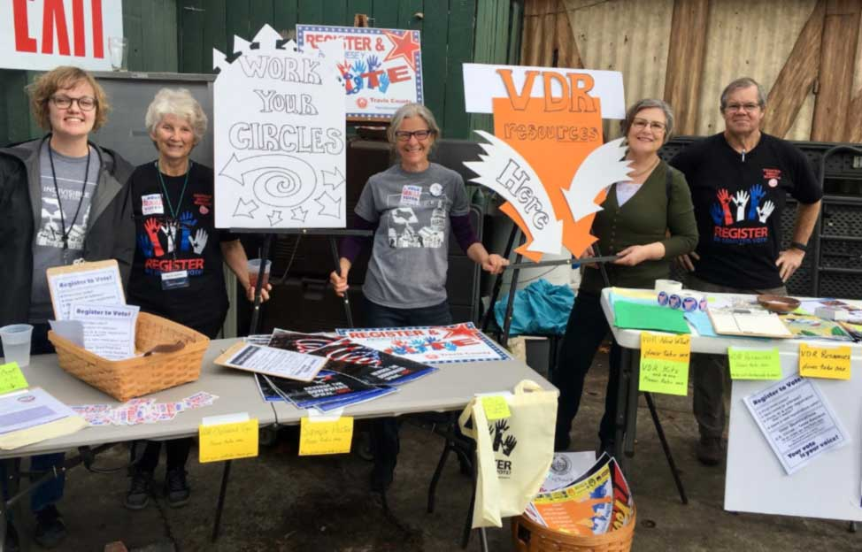 Indivisible Rosedale Huddle's VDR Resources table at the TX10 Indivisible candidate forum in January 2018