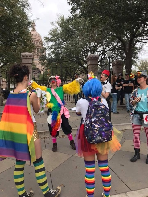 Clowns in front of the Capitol