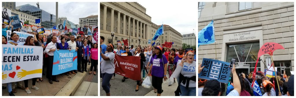 L: Members of Congress lead the Families Belong Together rally and march to Customs and Border Patrol; M: Marchers headed to Customs and Border Patrol office in D.C.; R: Families belong together rally outside Customs and Border Patrol office in D.C.