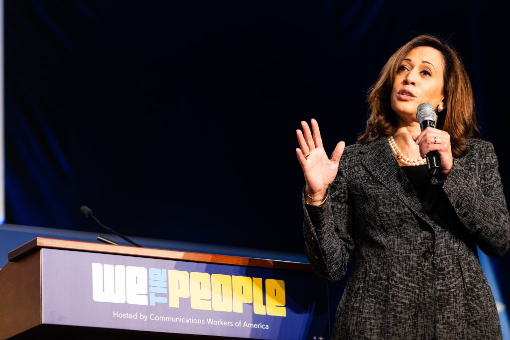 Senator Kamala Harris of California addresses the crowd at the We the People Summit.