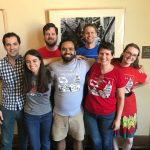 Members of Indivisible Austin's board with Ezra and Leah
