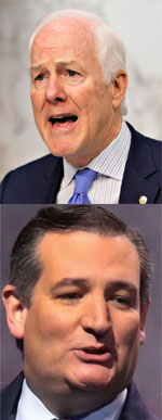 Unflattering headshots of John Cornyn and Ted Cruz