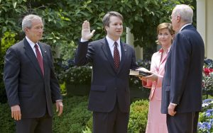 Brett Kavanaugh at swearing-in with Dubya