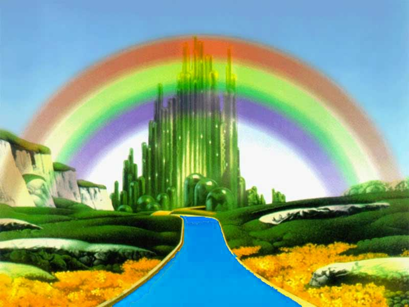 Blue brick road leading to the Emerald City