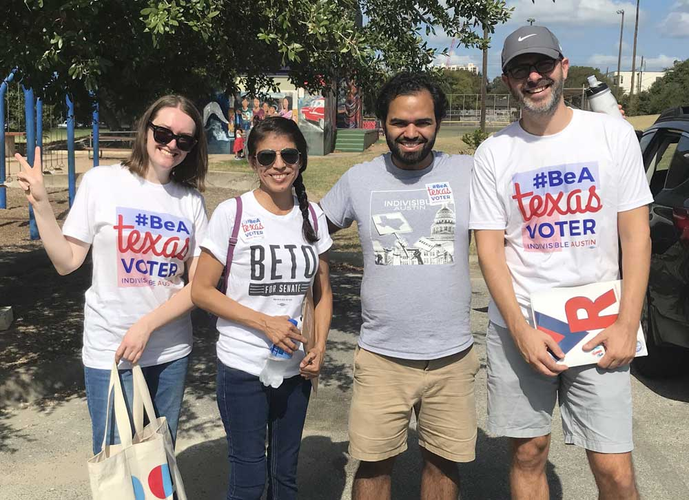 Activists from Indivisible Austin rocking Beto and #BeATexasVoter tees