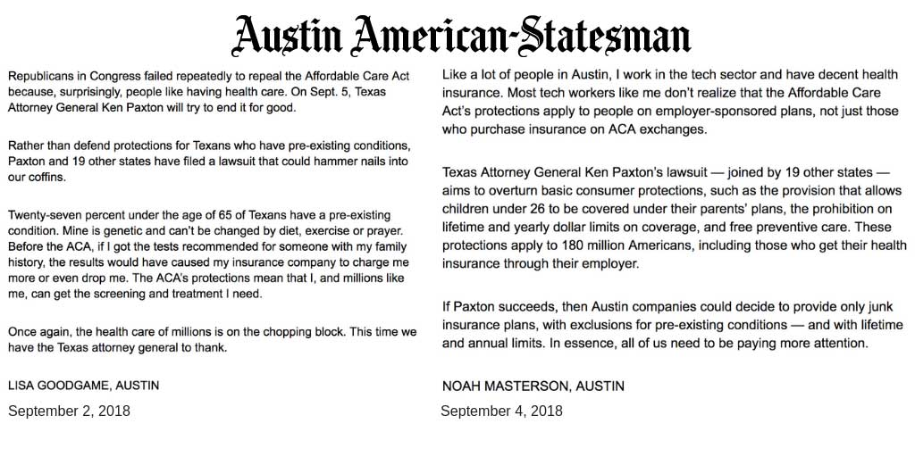 Letter from Indivisible Austin activists published in the Statesman about pre-existing condition protections