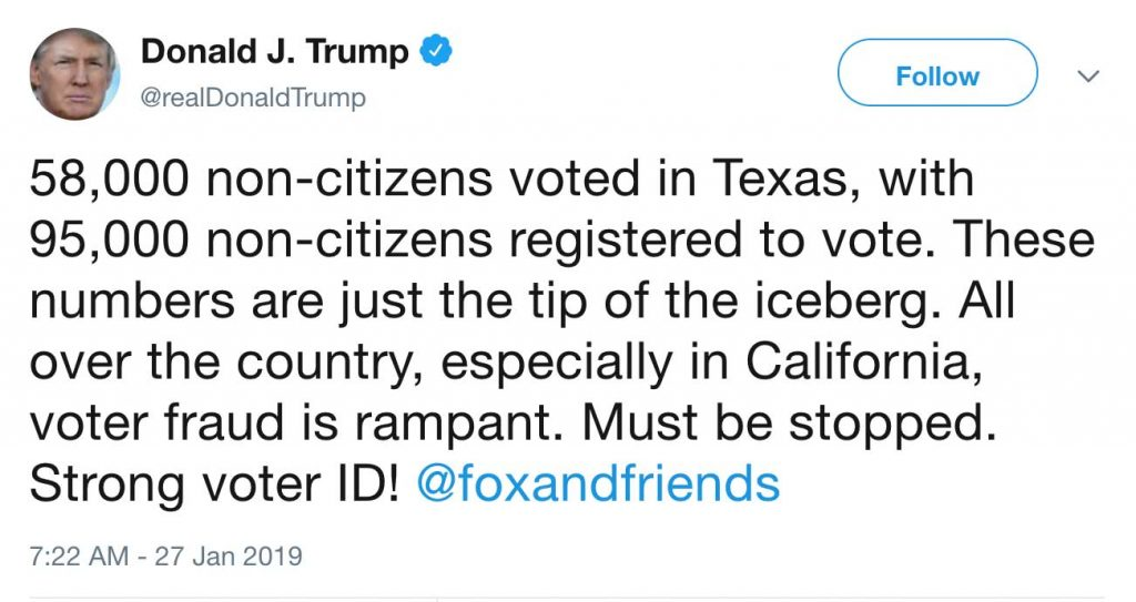 bad trump tweet about noncitizen voting in tx and CA