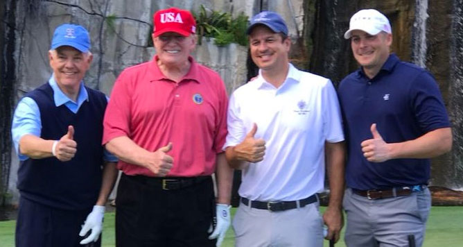 Roger Williams golfing with Trump on Saturday Feb 17 after Trump declared a national emergency