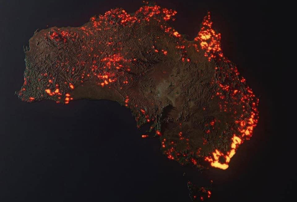 3D rendering of Australia brush fires