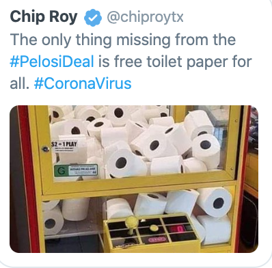 Chip Roy dumb joke about free toilet paper for all