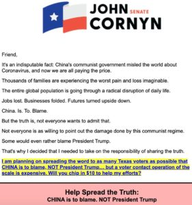 Cornyn blame-shifting fundraising letter
