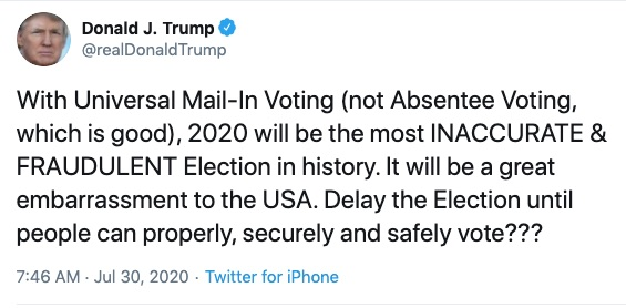 Trump's tweet about delaying elections
