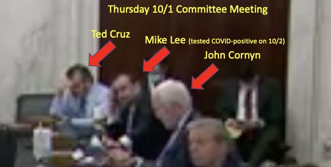 Cornyn and Cruz seated next to Mike Lee